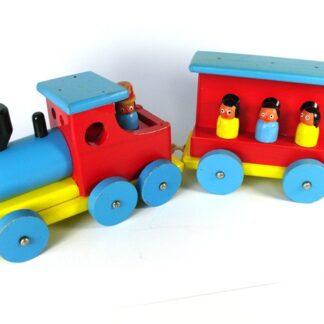 Kleurig houten treintje
