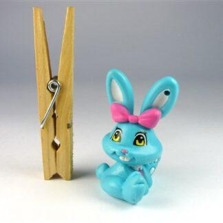 Blauw konijntje roze strik