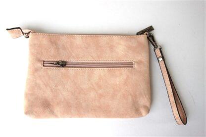 Clutch met schouderband roze/perzik