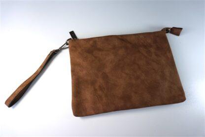 Clutch met schouderband bruin