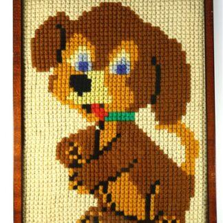 Vintage hondje kruissteek
