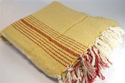 Hamamdoek - geel met rode streepjes