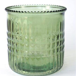 Groen glazen vaasje / windlicht