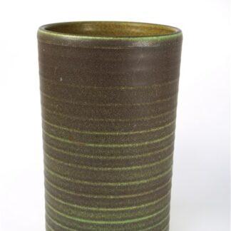 Bruin / groene ribbel vaas