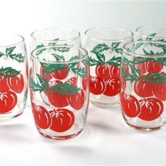 6 vintage tomaten-glaasjes