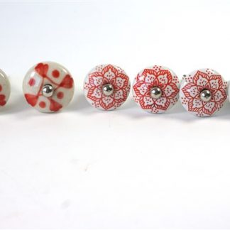 6 rood/witte knoppen