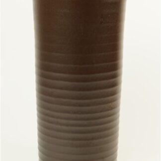 Bruine vaas met ribbel